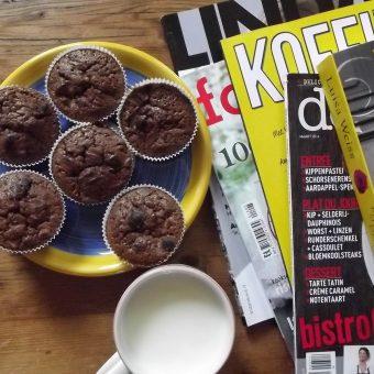 Muffins met rabarber en zure room