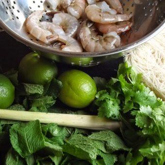 Noedelsalade met kokos, garnalen en lychees_2
