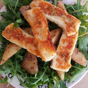 Salade met peer, halloumi en rucola_2
