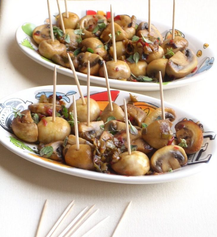 champignons in kruiden-chilivinaigrette