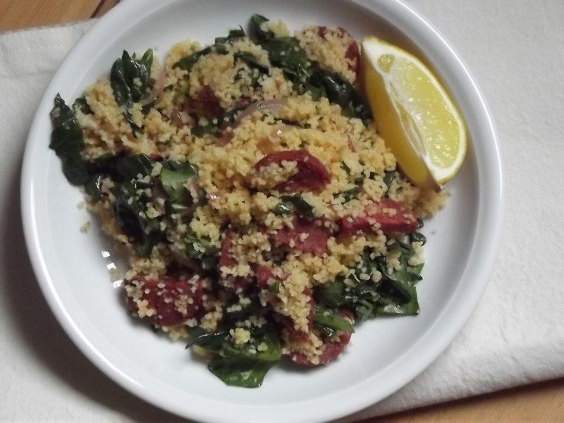 chorizocouscous met spinazie