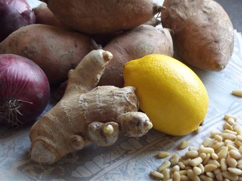 pastilla van zoete aardappel en koriander