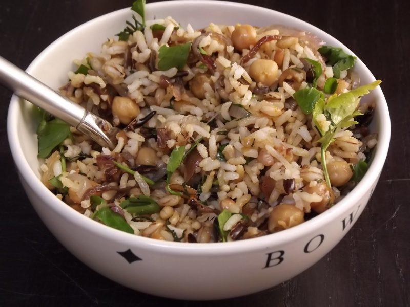 rijstsalade met kikkererwten