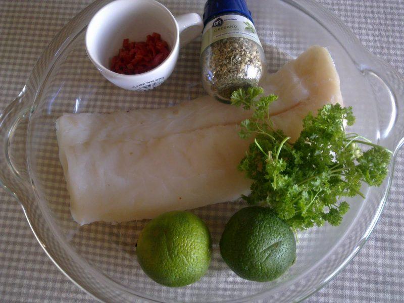 geroosterde kabeljauw met peterselie oregano rode peper en limoen