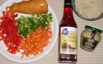 rijstsalade met gerookte kip en mosterddressing