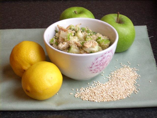 quinoa-salade met gebraden kip en Granny Smith