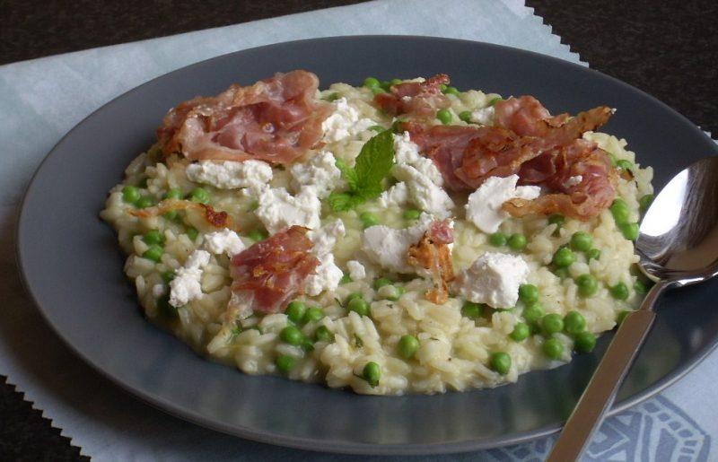 risotto met doperwtjes munt en geitenkaas