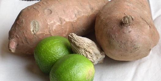 zoete aardappelen met creme fraiche dip