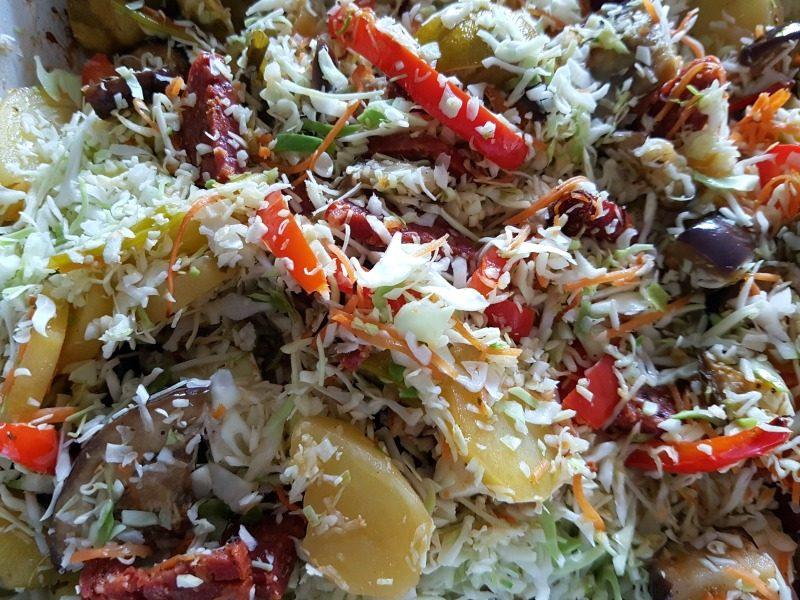 Geroosterde groenten met feta en chorizo